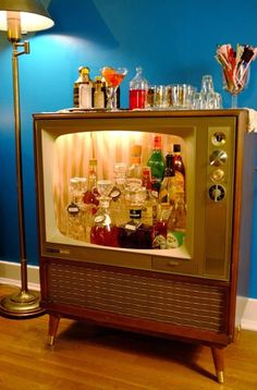 sweet vintage 1960's television converted to a bar