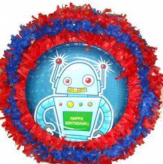 World of Pinatas - Robot Pull String Pinata, $27.99 (http://www.worldofpinatas.com/robot-pull-string-pinata/) robot parti, robot pull