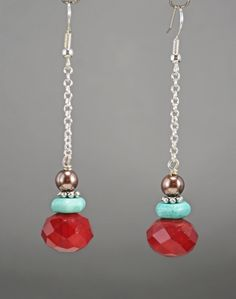 Turquoise, Brown Pearl and Red Crystal Drop Earrings