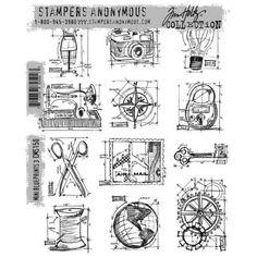 Tim Holtz - Mini Blueprints 3 Stamp Set