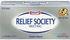 Relief Society Activity, Relief Society, Relief Society Evening Meeting, Homemaking, Enrichment Night, cream cheese, Relief Society Ideas