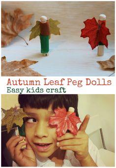 Autumn leaf peg dolls kids craft