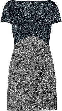 VICTORIA BECKHAM SILVERED Two-Tone Silk Lamé Dress