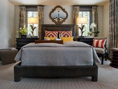 """""""It's important to balance masculine details with luxury,"""" interior designer Linda Woodrum says. """"With the leather headboard, a soft houndstooth check provides the balance.""""    http://www.hgtv.com/dream-home/master-bedroom-pictures-from-hgtv-dream-home-2014/pictures/page-12.html?soc=pindhm"""