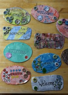 A gift for Mum. Clay slab welcome signs.