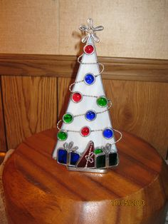 Stained Glass White Christmas Tree Candle Holder - Item 4-1058