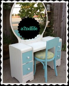 Antique Waterfall Vanity Refinished Teal Blue White by a2ndlife, $175.00 for Maddy and courtney