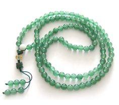 Jade Beads Tibetan Buddhist Prayer Meditation 108 Japa Mala Necklace
