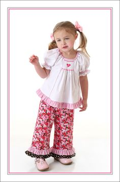"Smocked ""Temily"" top from AS #80 and ruffled pants"