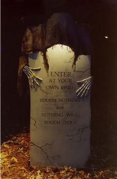 """Halloween Tombstone """"Touch Nothing and Nothing will Touch You!"""" #halloween #cemetary #grave #graveyard #yard #lawn #tomb #tombstone #headstone #faux #prop #haunted #house #tour #Party"""
