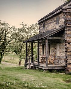 11x14 Matted Print  Log Cabin at Dusk Photograph by heaphotography, $45.00