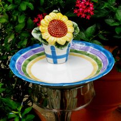 Sunflower Garden Totem Stake Butterfly Feeder by NewFire on Etsy, $32.00