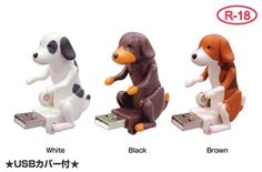 Humping dog USB flash drives (Kerry bought one for Heather for Christmas)