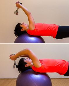 Overhead Triceps Extension on the Ball Although this is a triceps move, your abs are fully engaged to keep you balanced. You'll feel the burn in your entire upper body — pecs included. Here's how:Sit on a ball holding a medium- to heavy-weight dumbbell. Walk