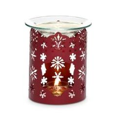 """************** SOLD OUT ************** Winter Lace Fragrance Warmer  Item #:  P91135  Holiday red finish makes our snowflake-strewn warmer extra festive! Heat from a tealight gently warms Scent Plus™ Melts or scented oil placed in the glass dish. Melts, oil and tealight sold separately. Also can be used as a candle sleeve. Pierced metal. 5"""" (13 cm) h, 4 3/4"""" (12 cm) dia.  Regular Price (CDN):  $25.00 each ~ Outlet Sale Price (CDN):  $8.00 each ~ While supplies last!"""