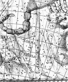 """Norma, shown under the name Norma et Regula (set square and ruler) in the Uranographia of Johann Bode (1801). One of the constellations of Nicolas-Louis de Lacaille. Mona Evans, """"Lacaille's Skies – Arts"""" http://www.bellaonline.com/articles/art184008.asp"""