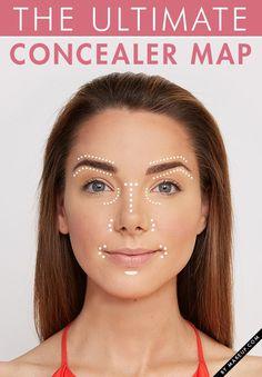 apply concealer, makeup tutorials, conceal map, concealer tricks, makeup concealer, bride hairstyles, applying concealer, place, appli conceal