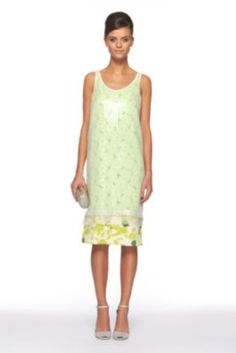 DVF | Tess Embellished Dress In Sketch Garden Lime, Spring 2012: Beginnings
