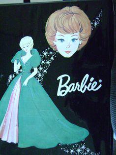 vintage 1963 MATTEL BARBIE case black ponytail vintage doll case barbie doll. $10.00, via Etsy.
