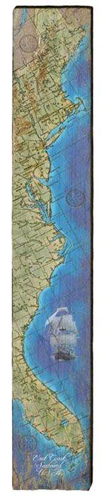 East Coast Seaboard Milled Wood Art