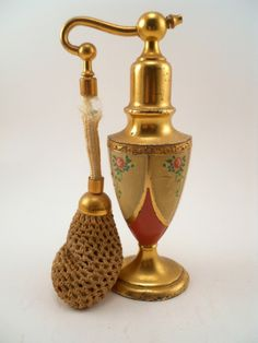 1930'S Enamel AND Metal Atomizer Perfume Bottle BY Quaker Silver Company