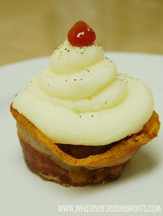 """meatloaf cupcakes... oh these would be so much fun at an april fool's dinner for """"dessert""""! with bacon """"liners"""""""