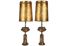 Pair of J. Mont Camouflaged Lamps as curated by Gustavo Olivieri on One Kings Lane