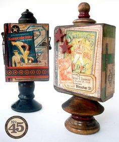 Great ideas from Nichola - Good ol' Sport Artist Trading Blocks! Using old pieces of found wood, chess pieces, and old door knobs. Amazing #graphic45 artists, craft stuff, graphic45, alter art, artist trade, sport, graphic 45, 45 craft, artist trading block