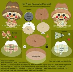 Alex's Creative Corner: Mr. & Mrs. Scarecrow punch art instructions