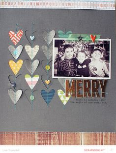 Scrapbooking Kits, Paper & Supplies, Ideas & More at StudioCalico.com!  Love Lisa's use of happy colors on a grey background.  That little 3 peeking out from the heart melts me.