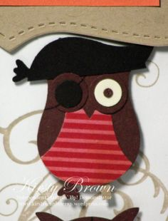 Cute Owl Pirate Punch Art  #Stampinup #punchart