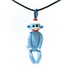 Blue Sock Monkey Ornament for Car Mirror or Holiday Tree by MagicByLeah,