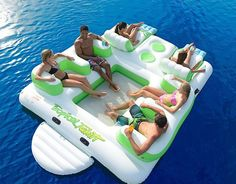Floating Island 6 Person Inflatable Lounge Raft Pool Lake Water Sport 2 Coolers. For the St Joe.