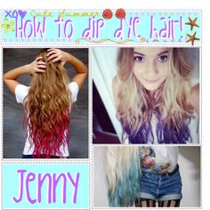 How to dip dye hair!, created by thetippies on Polyvore
