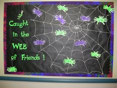 October bulletin board halloween spiderweb
