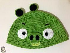 Gorro a Crochet Bad Piggy (de Angry Bird), Patrón Gratis