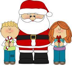 Santa and kids.