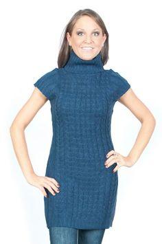Alki`i Cap sleeve Turtleneck sweater dress- 4 colors $21.99