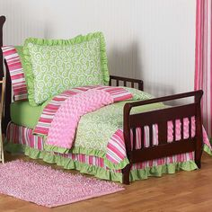 Olivia Pink and Green Trendy Girl 5 Piece Toddler Bedding