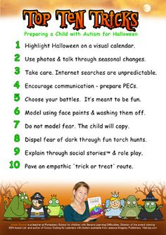 Helping a Child with Autism Handle #Halloween < You are now a child with autism entering a supermarket... there is an isle of terror where the toys usually are... piano... has been replaced by a cauldron full of skeletons and black spiders... downloadable chart of 10 tricks to preparing a child