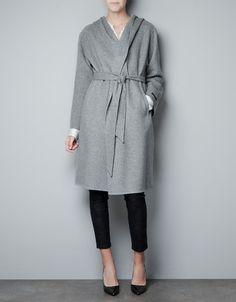 WRAPAROUND COAT WITH HOOD - Coats - Woman - ZARA United Kingdom