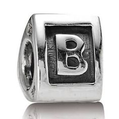 Letter B Charm Sterling Silver