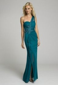 Mesh One Shoulder Long Dress with Beading from Camille La Vie and Group USA