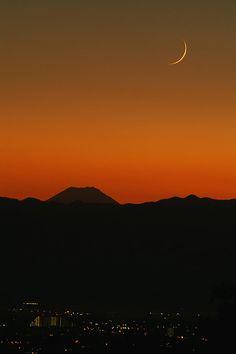 Mount Fuji and crescent moon, Japan