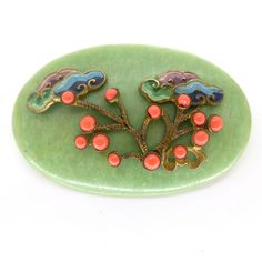 Vintage Art Deco Czech Green Galalith Coral Glass Tree Pin Brooch | Clarice Jewellery | Vintage Costume Jewellery