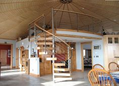 A Deltec Windsor model, at 2070 sq ft, also offers the possibility of building a central loft. #loft #roundhouse @SustainableLiving #HurricaneResistant