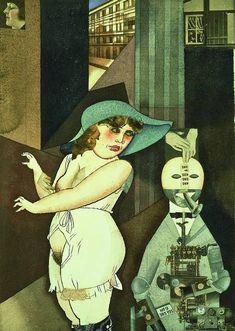 George Grosz, Daum marries her pedantic automaton George in May 1920, John Heartfield is very glad of it (Meta-Mech. Constr. after Prof. R. Hausmann), watercolour, pen and ink, and collage, 1920. Collection: Berlinische Galerie Museum of Modern Art