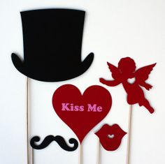 Valentines Day Photo Booth Props  5 Piece by BeBopProps on Etsy, $14.00