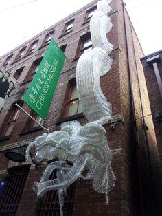 Dragon made of plastic bottles