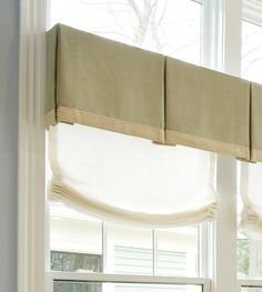 Box pleated valance with flat trim added to bottom edge and Relaxed Roman Sheer underneath.  Very pretty.  -- Makkas Drapery